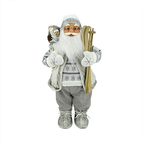 Northlight 24 Classic Skiing Pure White and Gray Standing Santa Claus Christmas Figure