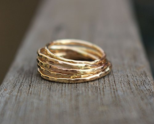 hammered ring band size 7 sold individually (Yellow Gold Eternity Wedding Ring)