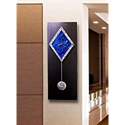 Black, Silver and Blue Wall Clock - Functional Art - Modern Metal Battery Powered Clock with Pendulum - Sapphire Paramount by Jon Allen - 32-inch