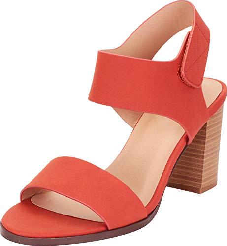 Cambridge Select Women's Classic Slingback Chunky Stacked High Heel Sandal,10 B(M) US,Burnt Orange ()