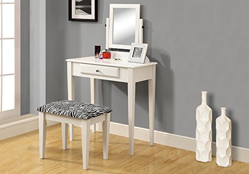 Monarch Specialties I I 3390 SET-2PCS Set Zebra Fabric Stool VANITIES, White