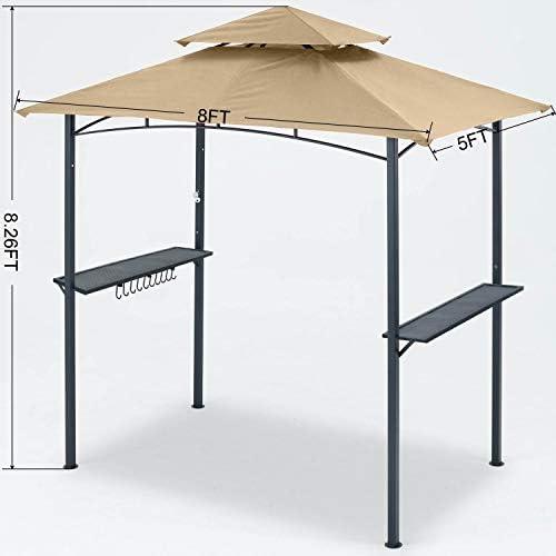 MASTERCANOPY Grill Gazebo 8 x 5 Double Tiered Outdoor BBQ Gazebo Canopy