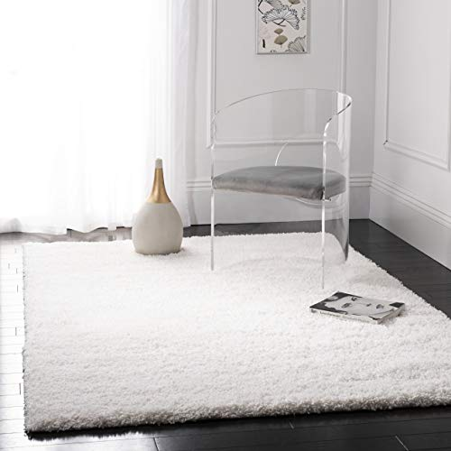 (Safavieh California Premium Shag Collection SG151-1010 White Area Rug (6'7