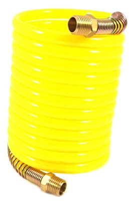 Forney 75417 Recoil Air Hose, Yellow Nylon with 1/4-Inch Male NPT Fittings, 1 Swivel End, 1/4-Inch-by-12-Feet, 200 PSI