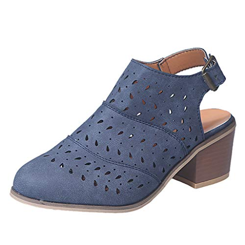 perfectCOCO Ankle Boots Women Slip-On Hollow Out Sandals Loafers Vintage Chunky Heel Office Dress Shoes Cutout Booties
