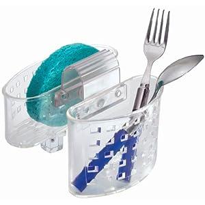 InterDesign Kitchen Sink Protector Flatware Organizer and Sponge Holder, Clear