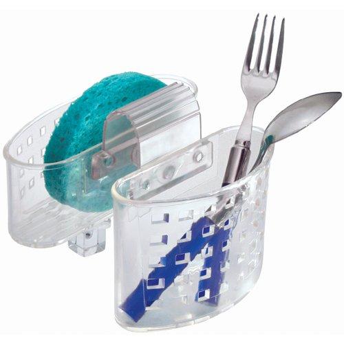 Racks Saddlebag (InterDesign Kitchen Sink Protector Flatware Organizer and Sponge Holder, Clear)