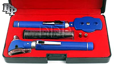 Ddp Diagnostix Blue Fiber Optic Otoscope Set, With Hard Case/ Complete Diagnostic Set-white Bright Led Light + 2 Free Replacement Bulbs