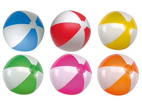 R5A1 Wasserball Strandball aufblasbar ca. 28 cm Wasserspielzeug G1 (R510 Gelb-Weiss)