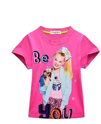 Lumiery Girls JoJo Siwa Print Cartoon Tee Shirt Short Sleeve Children Casual T-Shirt (Tshirt Rose red, 110(4-5y)) ()