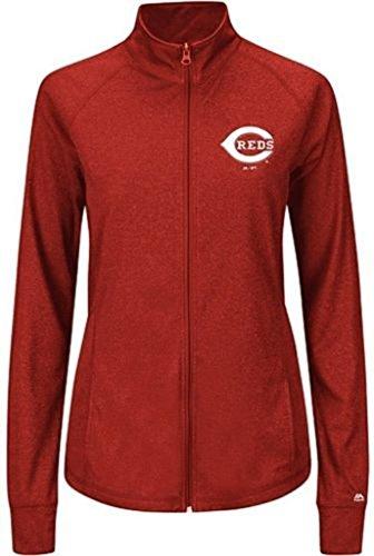 VF Cincinnati Reds MLB Majestic Womens Her Score Track Jacket Red Plus Sizes (4X)