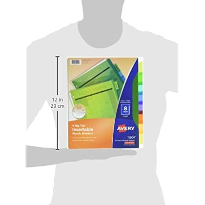 avery 8 tab plastic binder dividers insertable multicolor big tabs 3 sets
