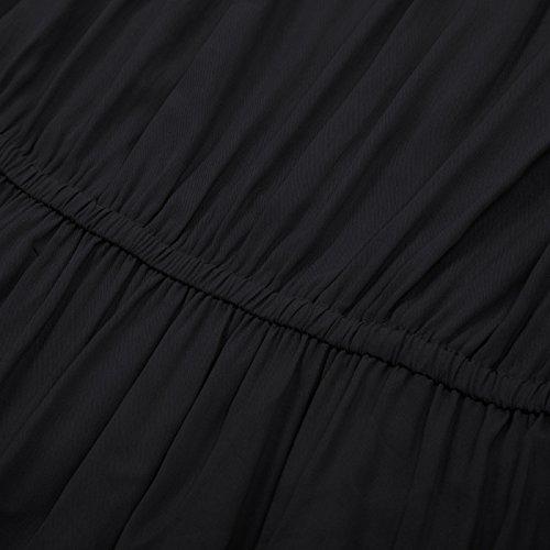 Women GRACE KARIN Ruffle Black Dress Casual Off Dresses Party Shoulder Long Maxi wwqf5HrFn