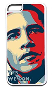 Barack Obama-Yes We Can-Cool Digital Art-Colorful Photo- Iphone 5C plastic WHITE case - compatible with iPhone 5C only