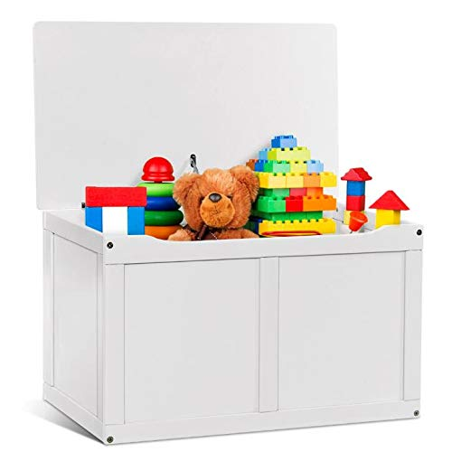 (Costzon Wooden Toy Box, Entryway Sitting Bench Top, Toy Storage Chest Organizer with 2 Safety Hinge & Lid for Kids (White))