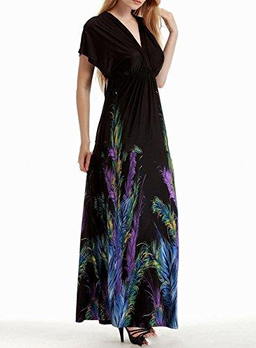 ACHICGIRL Mujer Maxi Vestido Playa Estampado con Mangas Cortas Cuello en V negro