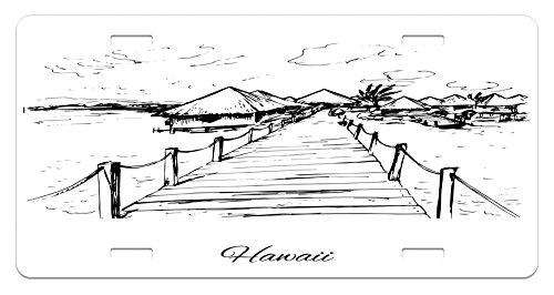 Hawaiian License Plate by Lunarable, Sketch Style Hawaii Dock Tiki Huts Bungalows Tropical Trees Beachy Boho Design, High Gloss Aluminum Novelty Plate, 5.88 L X 11.88 W Inches, Black - Huts Hawaii