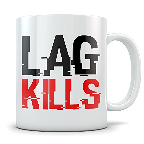 PC Gamer Mug - Lag Kills Coffee Cup - Funny Online Gaming Casualties Caused by Deadly Lag