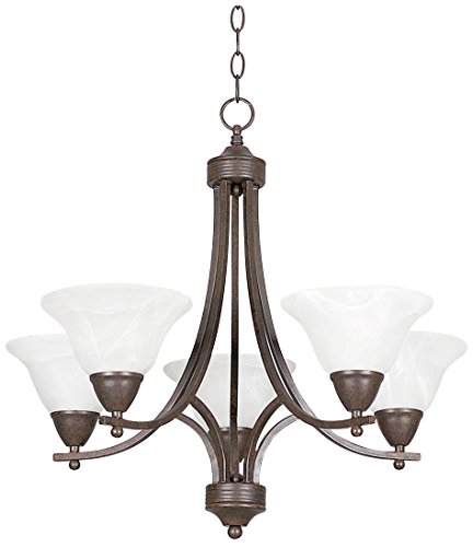 Sunset Lighting F5165-54 Chandelier with Faux Alabaster Glass, Painted Pewter Finish