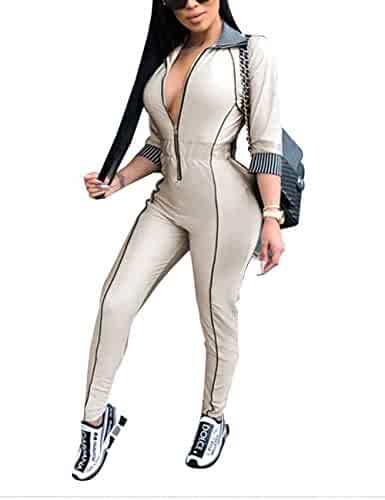 94af7826eb85 Angsuttc Women Zipper Front 3 4 Sleeve Turn Down Collar Bodycon Long Pants  Jumpsuit Rompers