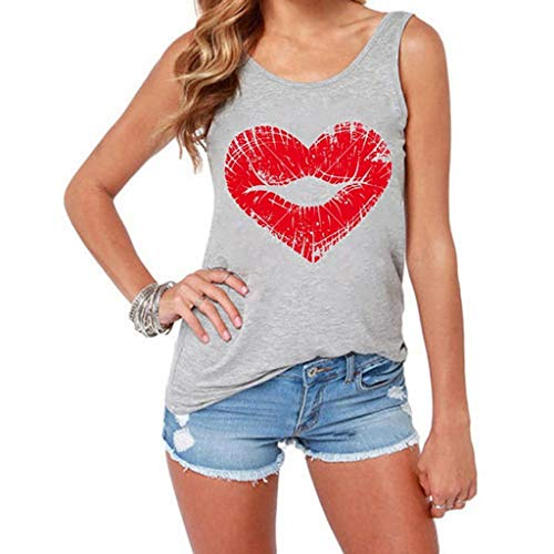 QIQIU Vest, 2019 Women's Sexy Lips Heart Pattern Fashion S-3XL Plus Size Loose Tank Tops T-Shirt ()