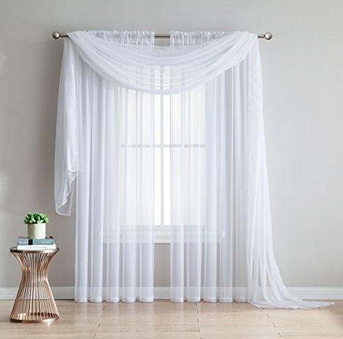 Amazing Sheer – 2-Piece Rod Pocket Sheer Panel Curtains Fabric Sheer – Voile Curtains for Window Treatment – Natural Light Flow (56″W x 84″L – Each Panel, white)