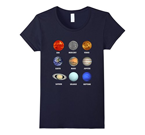 Womens Planets of the Solar System and the Sun with names T-shirt Medium - Female Sun Names