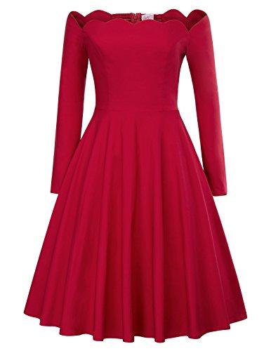 Delgado Hombro 2 Corta Retro Vintage Mujer Red Para Vestido Manga Belle Estampado Cuello 485 Poque Lápiz Sin V qw8g7F6