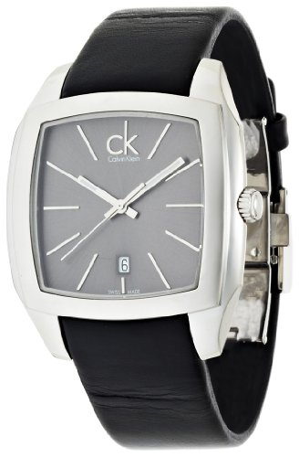 Calvin Klein Men's 'Recess' Swiss Quartz Stainless Steel and Leather Casual Watch, Color:Black (Model: K2K21107)