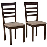 Target Marketing Systems Set of 2 Upholstered Havanna Dining Chairs, Espresso