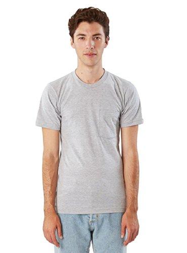 American Apparel Men Fine Jersey Crewneck Pocket T-Shirt Size L Heather - Jersey Apparel American