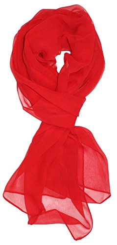 (Ted and Jack - Solid Silk Lightweight Accent Scarf in Red)