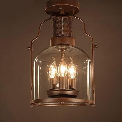 KunMai Vintage Rust Metal Lantern Glass Shaded Semi Flush Mount Ceiling Light Fixture,3 Candle Lights