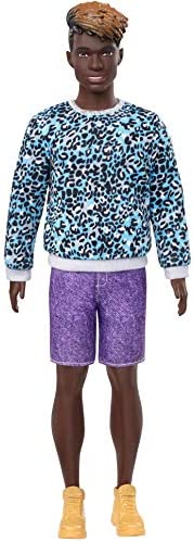 Barbie Ken Fashionistas Doll with Sculpted Dreadlocks Wearing Blue Animal-Print Shirt, Purple Shorts & Boo