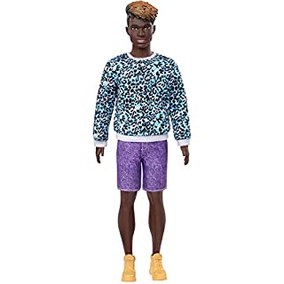 Barbie Ken Fashionistas Doll #153 with Sculpted Dreadlocks Wearing Blue Animal-Print Shirt, Purple Shorts & Boots, Toy for Kids 3 to 8 Years Old
