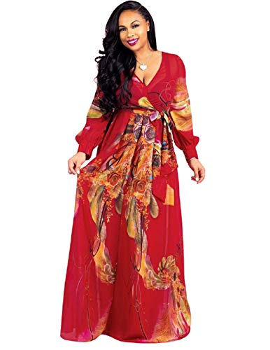 Dora's Womens Chiffon Deep V Neck Printed Stylish Maxi Dress Dresses High Slim Waisted Belt, A-longsleeve-redfloral, Large