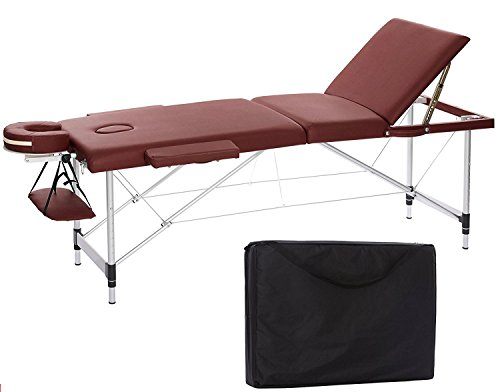 FirstWell Portable Massage Table Folding Aluminium 3 Section Height Adjustable Professional Lightweight Massage Bed Facial SPA Tattoo Bed with Free Oxford Carring Bag, Burgundy