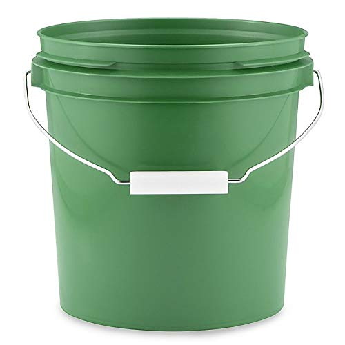 1 Gallon Bucket - 3 Pack Green 1 Gallon Buckets with Metal Handles and Lids