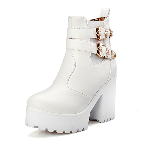 para Boot Heels Solid Allhqfashion redonda Solid punta High on con mujer botas Uqwa6vAa
