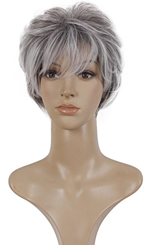 Deifor Older Women Short Messy Curly Synthetic Hair High Temperatuer Natural As Real Hair Wigs for Daily Use (Gray White Ombre) -