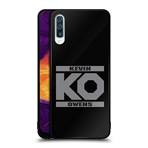 Official WWE KO Fight Kevin Owens Black Hybrid Glass Back Case Compatible for Samsung Galaxy A50 (2019) ()