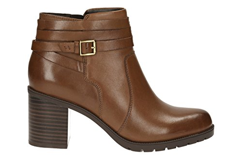 CLARKS Clarks Womens Ankle Boot Malvet Maria Dark Tan 6.5 D
