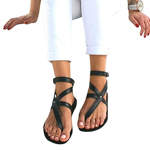 Womens Gladiator Strappy Flat Toe Strap Thong Cross Rivet Buckle Ankle (Flip Flops Thong Strappy Sandals)
