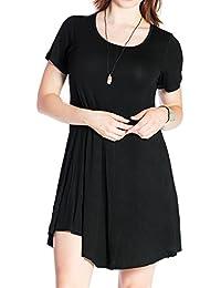 Women's Tunic Casual Short Sleeve Swing Loose T-Shirt Dress
