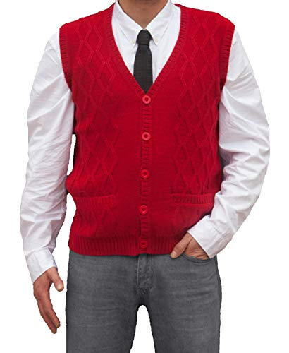 TINKUY PERU - Peruvian Alpaca Wool - Men´s Knitwear V-Neck Jacquard Vest Sweater Waistcoat - Red (Large)