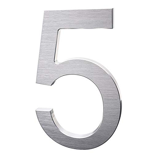 6 Inch Modern House Numbers- Premium Aluminum Floating Home Address Number with Exquisite Drawing Process, Silver, Number 5