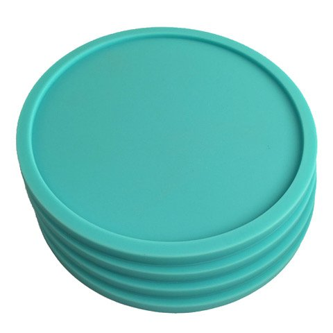 4 Teal Coasters - Silicone Rubber Lip Catches Drink Condensation and Spills - Safe Non-Slip for Dinner Table, Furniture, or Bar ()