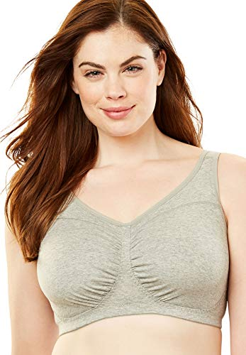 Comfort Choice Women's Plus Size Wireless Sleeping Bra - Heather Grey, 52 G