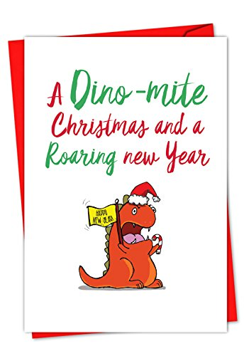 C5550HXSG-B12 Box Set of 12 'It Was The Pun Before Christmas - Dino' Christmas Greeting Card Featuring Images of Doodled Animal Friends with Punny Sayings; With -