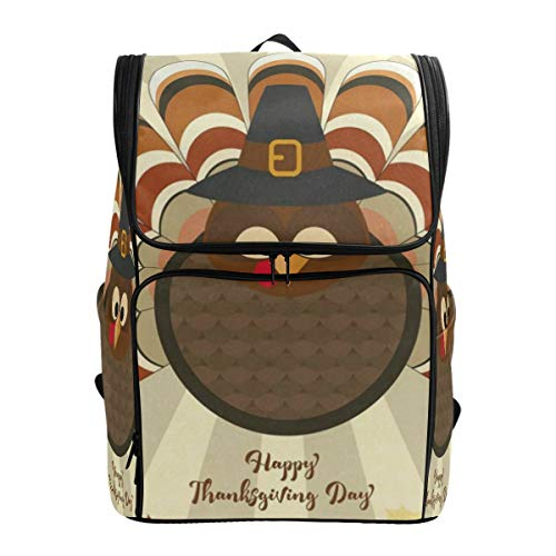 Travel Backpack Turkey in Pilgrim Hat Autumn Leaves Gym Backpack for Women Big Boxy Daypack -